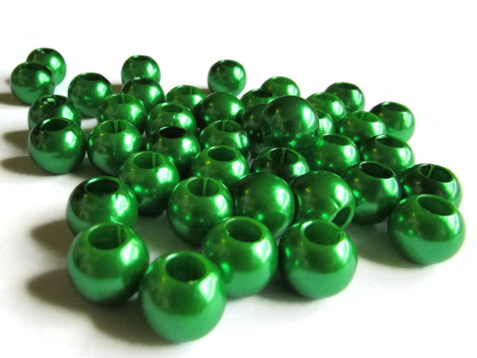 40 12mm Large Hole Pearls Green Pearl Beads European Beads Plastic Pearl Beads