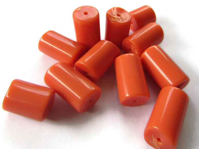 12 13mm to 20mm Russet Orange Beads Orange Tube Beads Vintage Lucite Beads Old