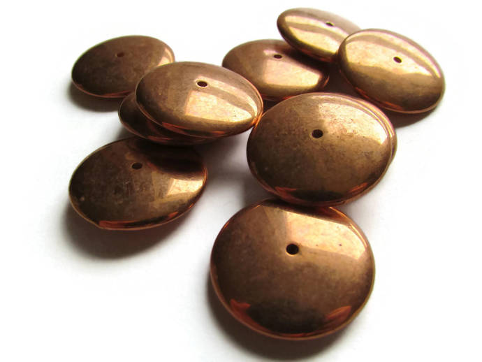 10 22mm Vintage Red Copper Beads Saucer Beads Copper Plated Plastic Beads