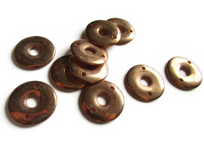 10 23mm Vintage Red Copper Beads Round Donut Beads Copper Plated Plastic Beads
