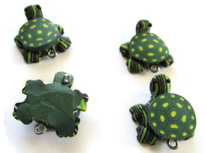 4 Green Turtles with Yellow Spotted Shell Turtle Charms Tortoise Links Beads
