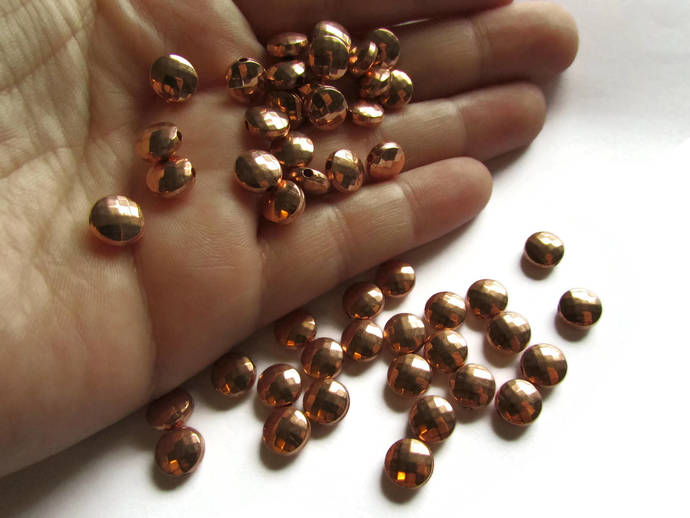30 8mm Vintage Red Copper Beads Faceted Flat Round Beads Copper Plated Plastic