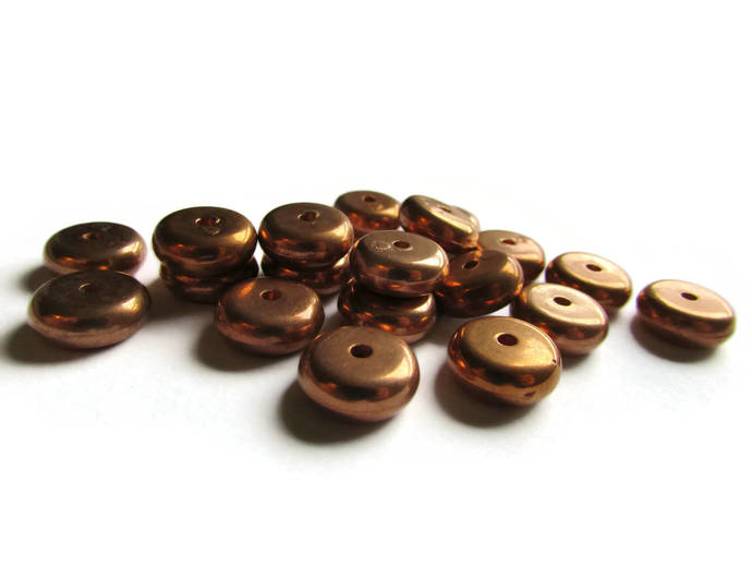 20 12mm Vintage Red Copper Beads Rondelle Beads Copper Plated Plastic Disc Beads
