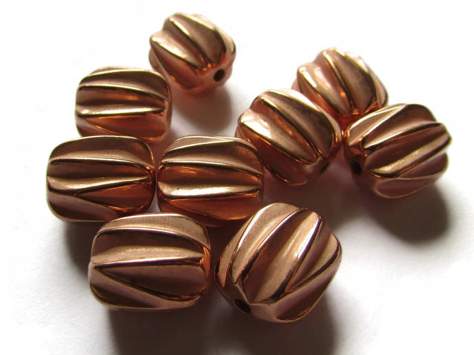 9 13mm Vintage Red Copper Beads Fluted Barrel Beads Copper Plated Plastic Beads