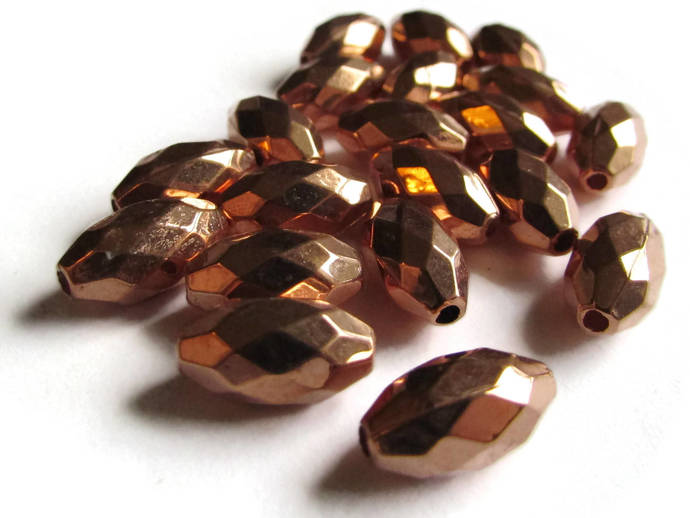 20 13mm Vintage Red Copper Beads Faceted Oval Beads Copper Plated Plastic Beads