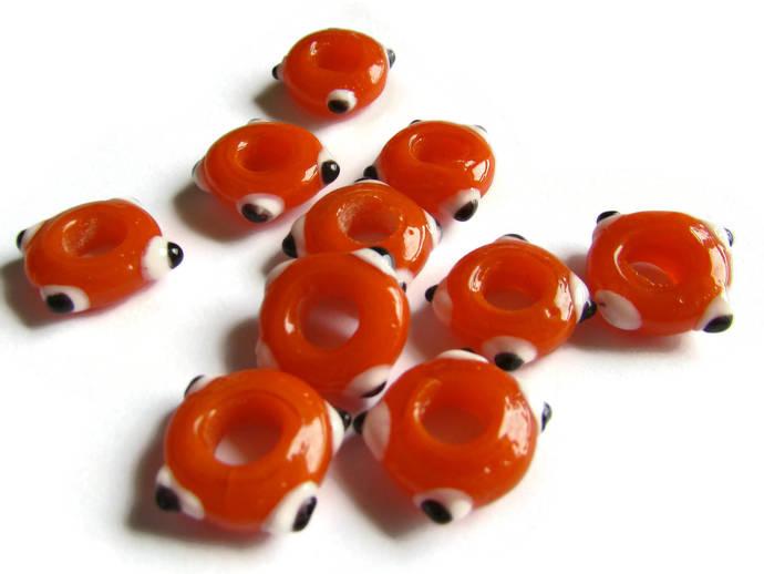 10 Orange Evil Eye Beads Lampwork Glass Beads Large Hole Beads Donut Beads