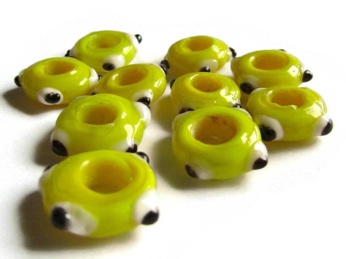 10 Yellow Evil Eye Beads Lampwork Glass Beads Large Hole Beads Donut Beads