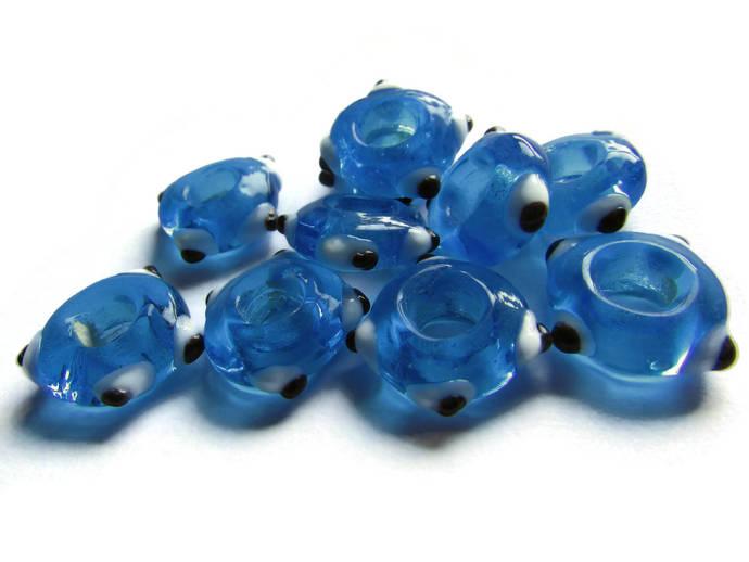 10 Sky Blue Evil Eye Beads Lampwork Glass Beads Large Hole Beads Donut Beads