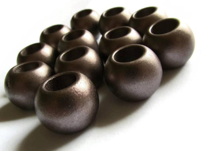 12 18mm Large Hole Metallic Beads Plastic Beads 9mm Hole Size Jewelry Making