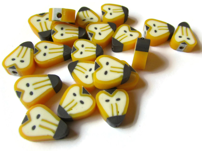 20 Yellow Baboon Head Beads Animal Beads Polymer Clay Beads Monkey Beads Ape