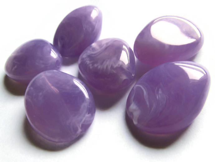 6 25mm Lilac Purple Beads Plastic Beads Flat Teardrop Beads Flat Oval Beads