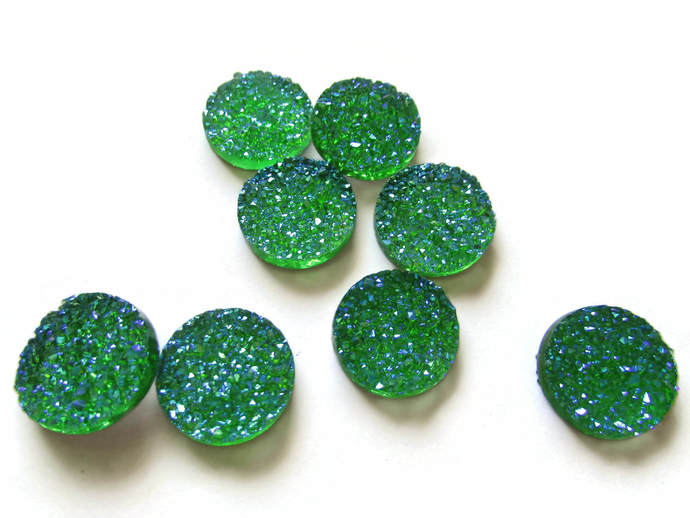 8 18mm Green Druzy Cabochon Faux Druzy Cabochons Resin Cabochons Round Cabochons