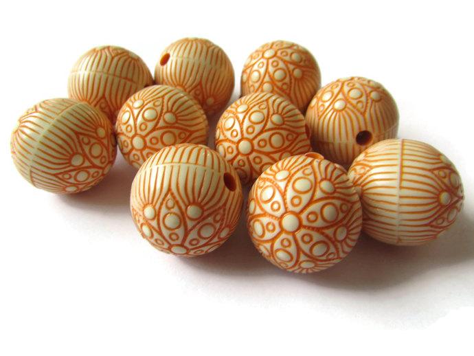 10 Orange Flower Beads 18mm Round Beads Bubblegum Beads Plastic Beads Acrylic