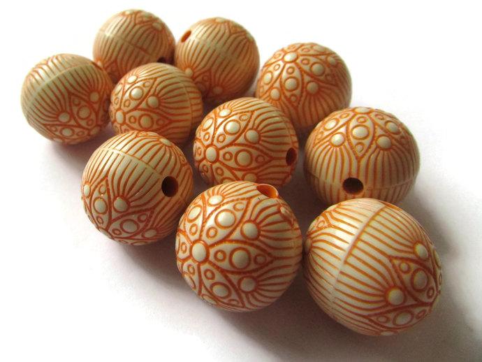 10 18mm Orange Flower Beads 18mm Round Beads Bubblegum Beads Plastic Beads