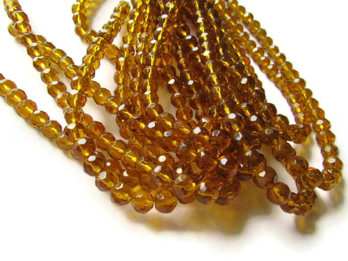 6mm Round Crystal Beads Brown Beads Crystal Glass Beads Full Strand Beading
