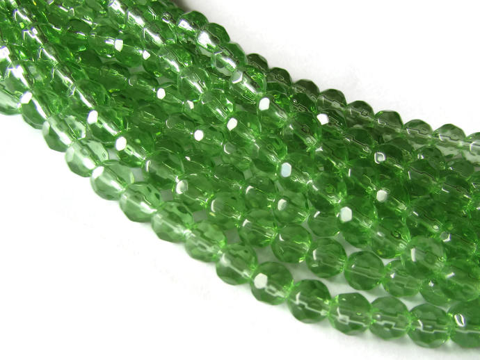 6mm Round Crystal Beads Green Beads Crystal Glass Beads Full Strand Beading