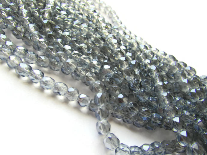 5.5mm Round Crystal Beads Silver Beads Crystal Glass Beads Full Strand Beading