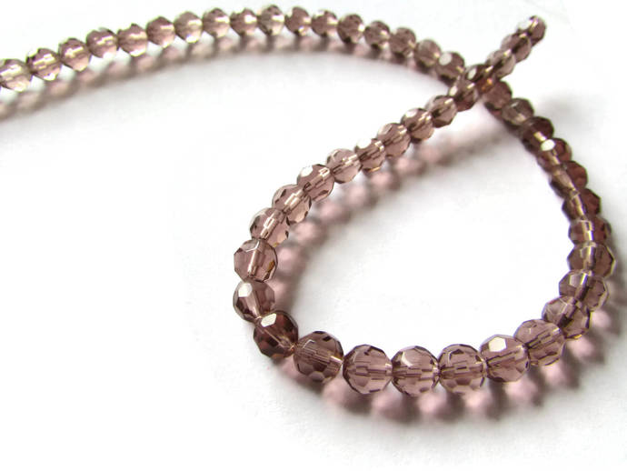 6mm Round Crystal Beads Lilac Purple Beads Crystal Glass Beads Full Strand