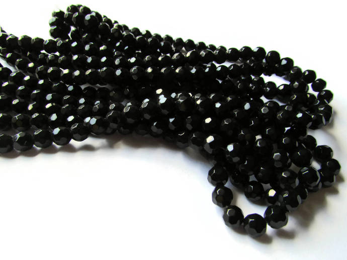 6mm Round Crystal Beads Jet Black Opaque Beads Crystal Glass Beads Full Strand
