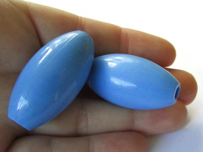 3 38mm Blue Plastic Beads Large Vintage Beads Oval Beads Large Hole Beads