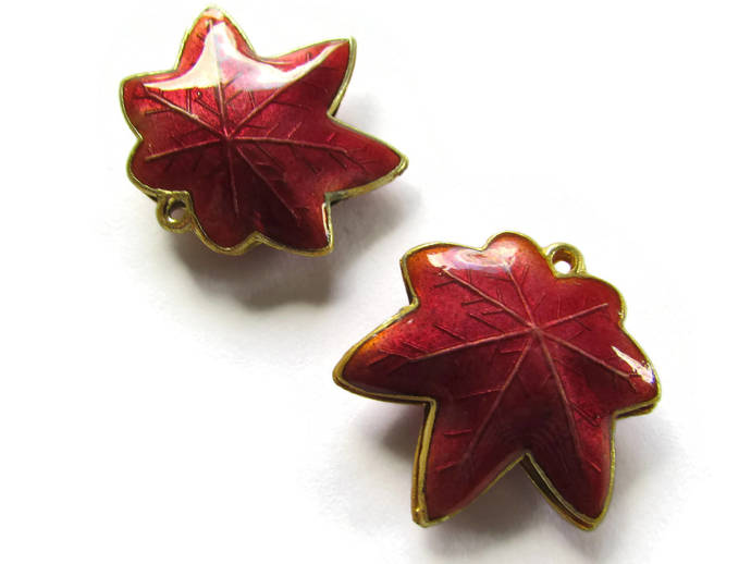 25mm Red Cloisonne Leaf Beads Leaf Charms Cloisonne Plant Beads Cloisonne Charms