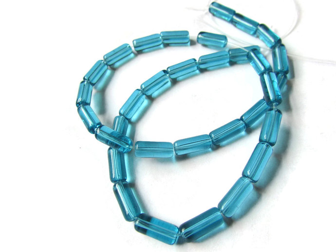 10mm Tube Beads Turquoise Blue Beads Glass Beads Transparent Beads Jewelry