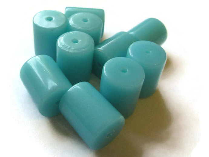 11 13mm x 10mm Arctic Blue Tube Beads Vintage Lucite Beads Old New Stock Beads