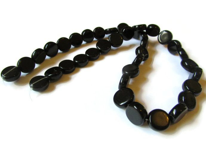 36 10mm to 11mm Jet Black Beads Crystal Coin Beads Flat Round Beads Full Strand