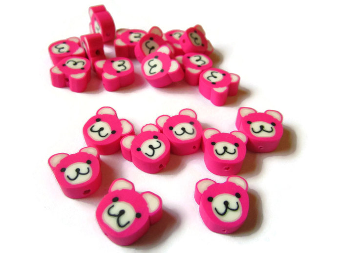20 Pink Bear Heads Animal Head Beads Polymer Clay Beads Kawaii Beads Jewelry