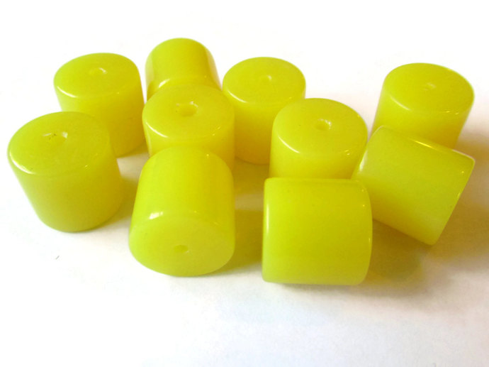 10 12mm Yellow Tube Beads Vintage Lucite Beads Old New Stock Beads Vintage