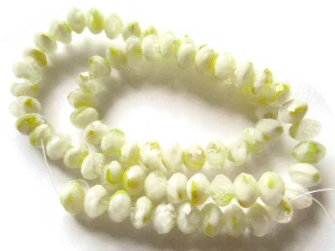 71 6mm x 8mm White Beads Crystal Rondelle Beads Full Strand 17 Inch Abacus Beads