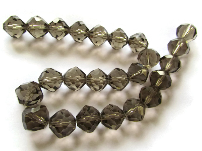 24 12mm Grey Crystal Beads Crystal Glass Bicones Bicone Beads Jewelry Making