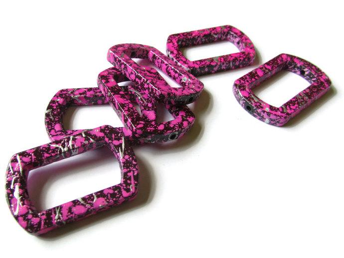 6 41mm Pink Bead Frames Splatter Paint Beads Rectangle Bead Frame Acrylic Beads