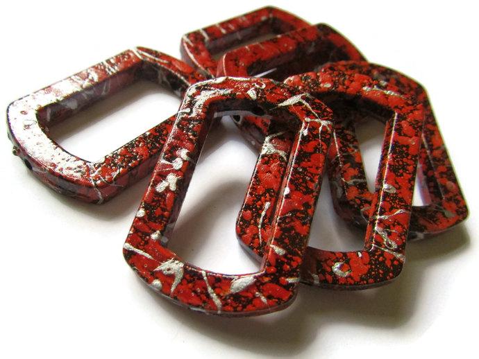 6 41mm Red Splatter Paint Rectangle Bead Frames Acrylic Plastic Beads