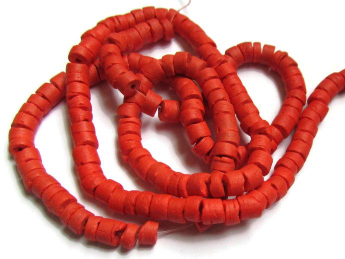 Tomato Red Beads Coconut Shell Beads Heishe Beads Tube Beads Full Strand 5mm