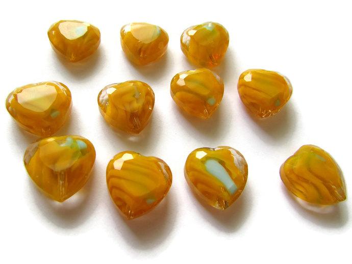 11 16mm Yellow Heart Beads Millefiori Glass Beads Faceted Heart Beads Love Heart