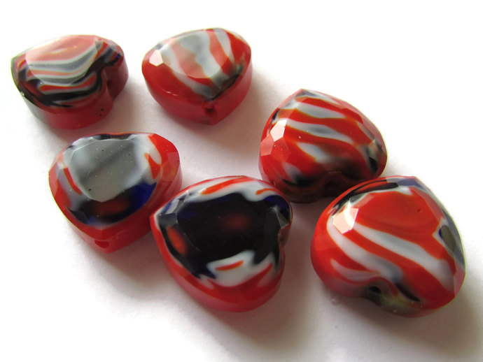 6 16mm Red Heart Beads Heart Beads Millefiori Beads Glass Beads Jewelry Making