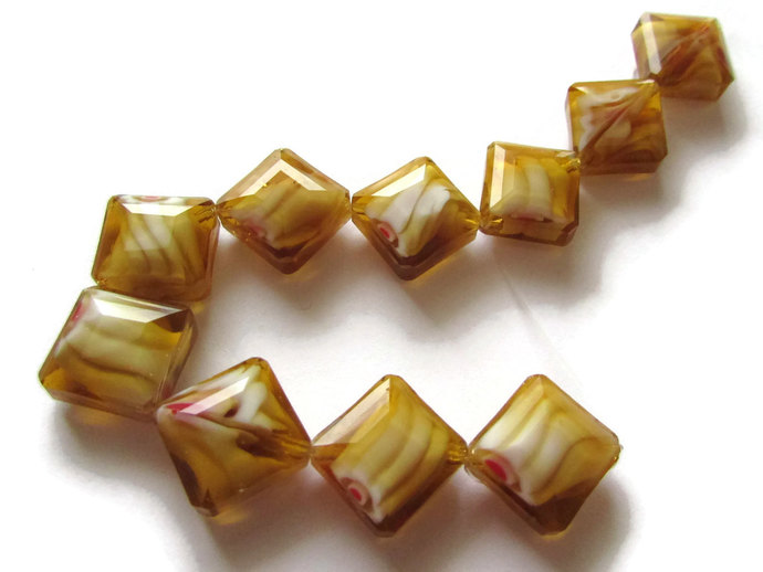 10 17mm Brown Flat Diamond Beads Millefiori Beads Glass Beads Faceted Beads
