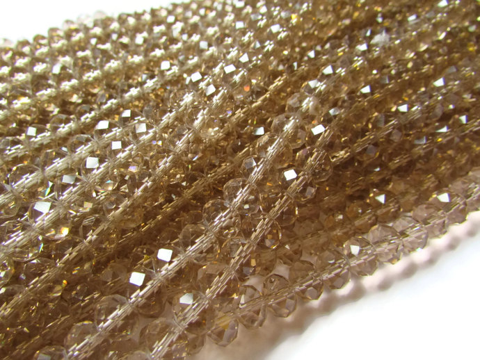 72 6x8mm Champagne Pink Beads Crystal Beads Faceted Beads Rondelle Beads 17 Inch