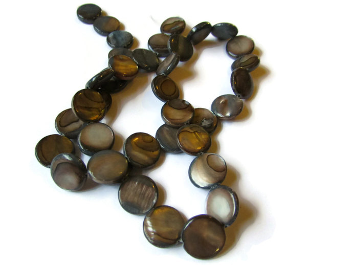 37 11mm Beads Mother of Pearl Beads Grey Coin Beads Full Strand 16 Inch Flat