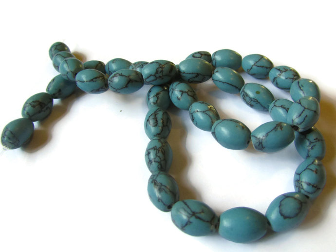 Full Strand Beads Blue Beads 11x8mm Imitation Turquoise Oval Beads Rice Beads