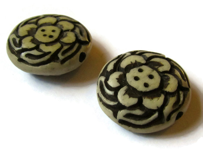 2 18mm Coin Bone Beads Flower Bone Beads Hand Carved Beads Antique Brown Finish