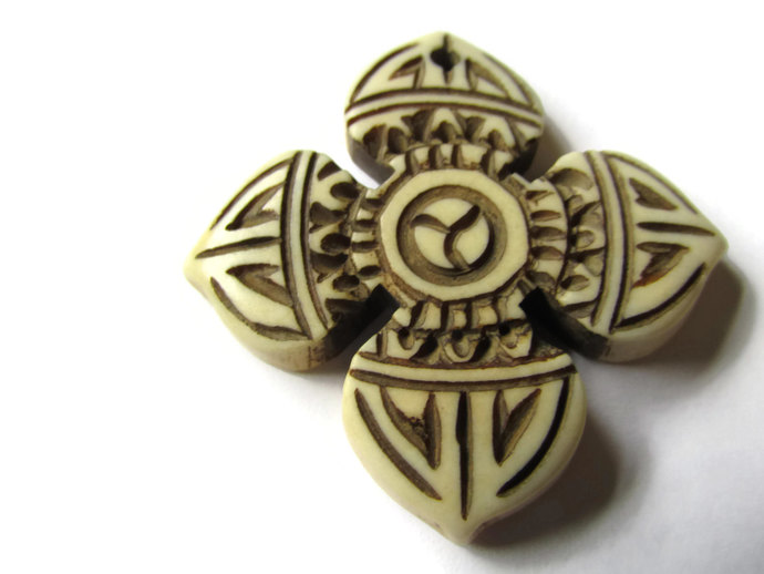 36mm Bone Cross Pendant Religion Beads and Charms Hand Carved Pendants Antique