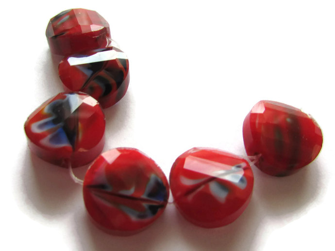 6 14mm Red and Blue Beads Millefiori Beads Faceted Coin Beads Jewelry Making
