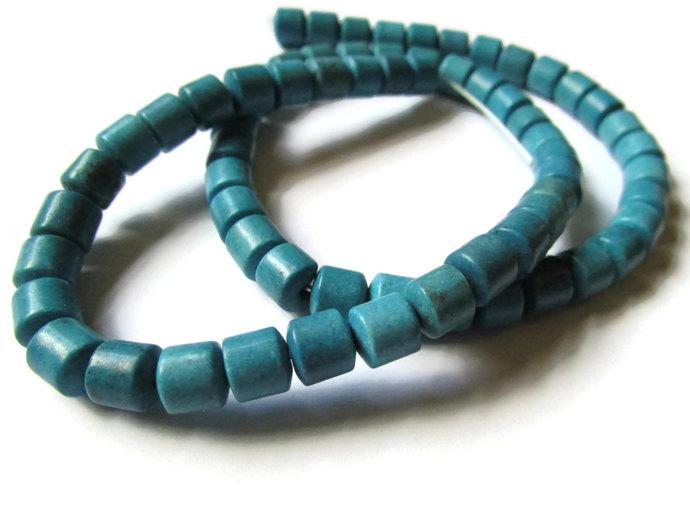 Turquoise Blue Beads Resin Beads Barrel Beads 6mm Tube Beads Full Strand Beads