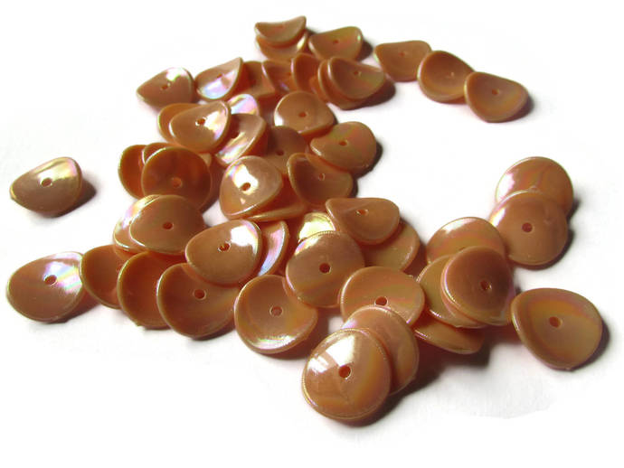50 15mm Orange Disc Beads Wavy Beads Flat Round Bead Coin Beads Curvy, Curved