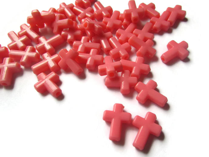 40 Red Cross Beads Light Red Beads Red Crosses Jewelry making Beading Supplies