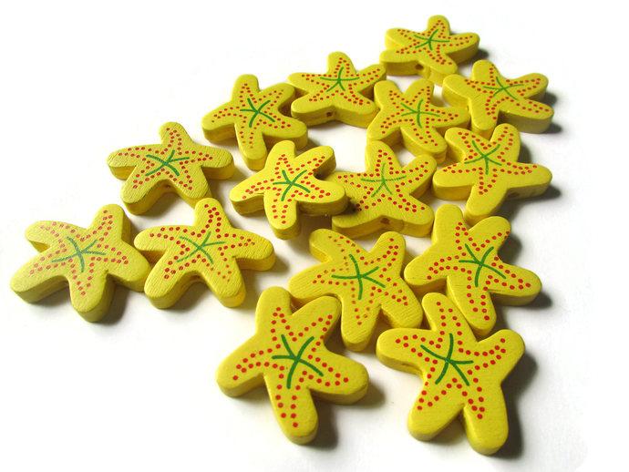 15 28mm Starfish Beads Yellow Beads Wood Beads Wooden Beads Star Beads Yellow