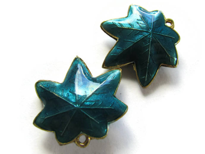 25mm Teal Blue Cloisonne Leaf Beads Leaf Charms Cloisonne Plant Beads Cloisonne