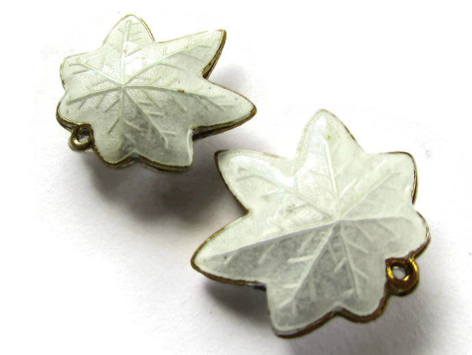 25mm White Cloisonne Leaf Beads Leaf Charms Cloisonne Plant Beads Cloisonne